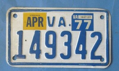 1977 Virginia Motorcycle License Plate