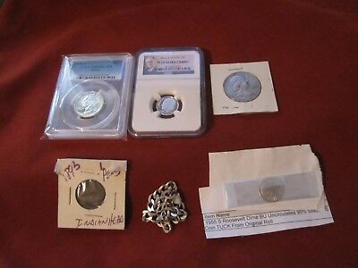 Silver Coin Lot-Graded Coins- NGC-PCGS Franklin Half--Roosevelt Silver Dime.