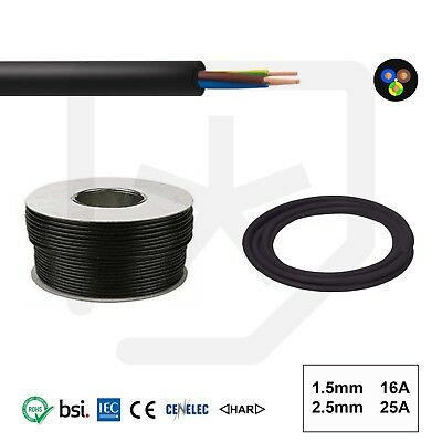 Rubber Cable 3 core 1.5 H07RN-F Heavy Duty Pond Outdoor Site Extension lead