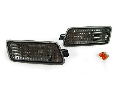 Euro Smoke Front Bumper Side Marker Lights Pair For 2005-2011 Audi A6 S6 C6