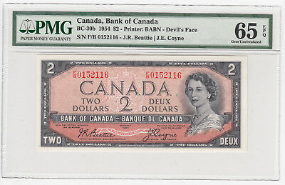 1954 Bank of Canada $2 Devil's Face - PMG Gem Uncirculated 65 EPQ