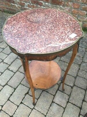 Small rosewood table, poss French c1870, marble top, cabriole legs, brass mounts