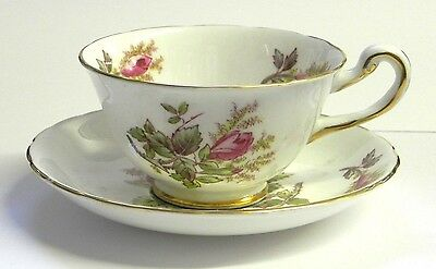 """Royal Chelsea """"Moss Rose"""" Cup and Saucer English Bone China"""