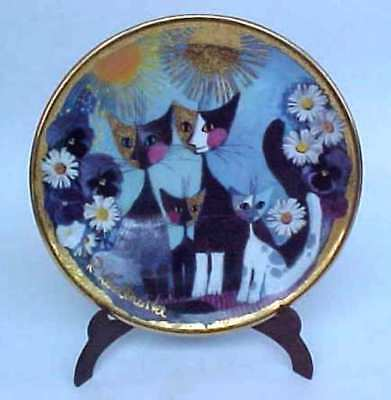 Rosina Wachstmeinster Katzenfamilie  Goebel Miniature Cat Plate With Stand