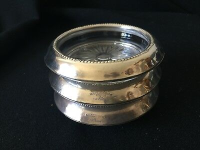 Frank M. Whiting & Co. Sterling Silver and Glass Coasters (3)