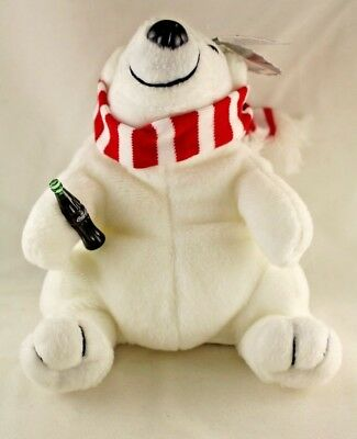1997 Coca Cola Bean Bag Plush Polar Bear With Red And White Scarf Style 0154 Nwt