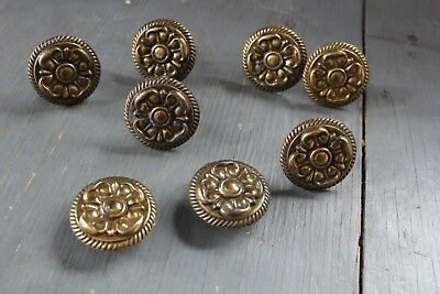 Set 8 Antique Vintage Brass Knob Furniture Dresser Drawer Pull Handle Hardware