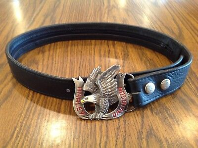 "Unisex HARLEY DAVIDSON Nickel Colored Enamel Eagle Buckle HARLEY 28"" Blk Lthr BT"