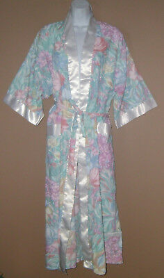Womens Vintage Size Large 3/4 Long Sleeve Spring Floral Casual House Coat Robe