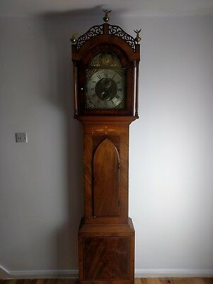 Georgian Mahogany Eight Day Brass Face Longcase Clock