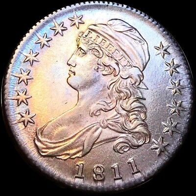 1811 Capped Bust Silver Half Dollar CHOICE BU++ Monster Toned! Early Date