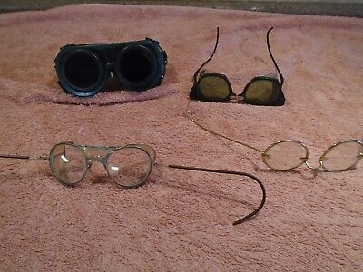Vintage Goggles Steampunk Safety Welding Glasses burning man Steel mill 4 LOT