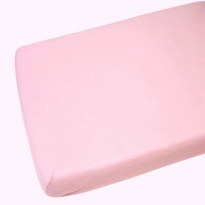 2 x 100 % Cotton Soft Cot Fitted Sheets 120 x 60 cm - Pink