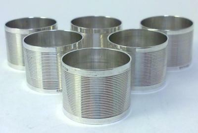 6 Small Vintage Sterling Silver Modernist Napkin Rings – c1980 (not inscribed)