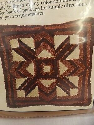 Vtg 70s NEW Caron Bargello Square 27x27 Pillow Printed Pattern Latch Hook Canvas
