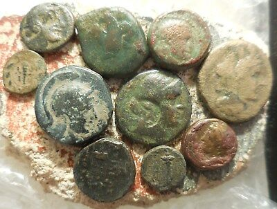 Lot of 10 VF Ancient Greek Coins, Syracuse, Troas etc.Largest 23 mm.