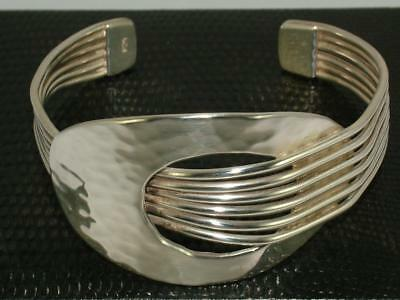 35 g SOLID STERLING SILVER DESIGNER OPEN CUFF BANGLE BRACELET FAB CONDITION