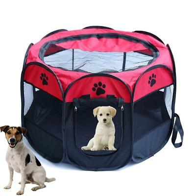 Large Pet Dog Cat Playpen Tent Exercise Fence Kennel Cage Oxford Portable~