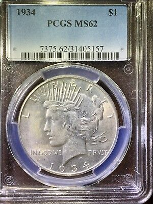 1934-P Peace Silver Dollar $1 PCGS MS 63 Type 2, Low Relief