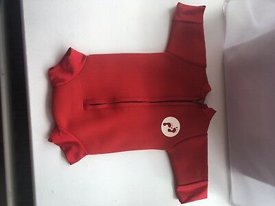 two bare feet red baby wetsuit 3-6 months