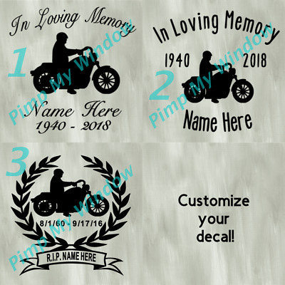 In Loving Memory Motorcycle Motorcyclist Harley Davidson Car Window Vinyl Decal