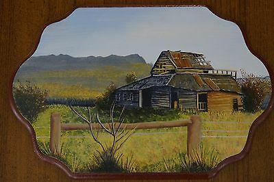 Folk Art Painting Wall Hanging MDF Old Shearin' Shed Tasmania