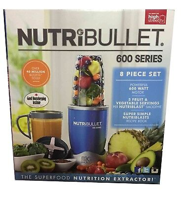 NutriBullet 600 Series Nutrition Blender Extractor - 8 piece - Ice Blue - 600W