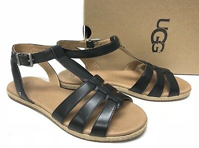 e08ccaaac2a UGG AUSTRALIA LANETTE Black LEATHER ANKLE STRAP SANDALS 1011551 Strappy  Shoes