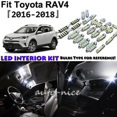 10x White LED Interior Lights Package Kit For 2016 2017 2018 Toyota RAV4