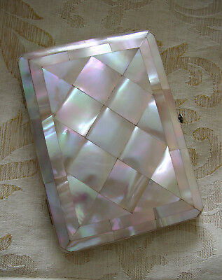 EXCELLENT VICTORIAN MOTHER OF PEARL VISITING CARD CASE c 1880