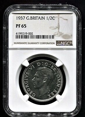 1937 Great Britain 1/2 Crown Ngc Proof 65 Light Frost