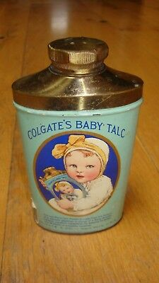 Colgate's Baby Talc can tin 1914 IRS stamp brass shaker antique nice condition