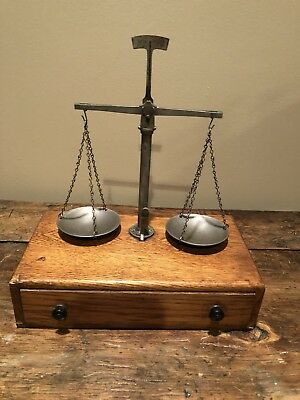 Antique 1800's Apothecary Scale With Oak Case