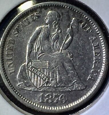 No Reserve-1876 Seated Liberty Dime XF+ Good to Fine 10C Silver Coin