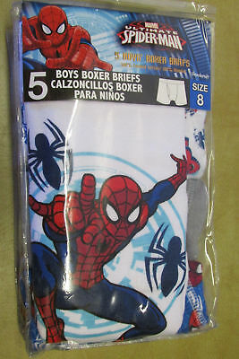 Pack of 5 Boys Size 8 Spiderman Boxer Briefs Marvel By Handcraft