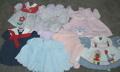 Lot of 7 Vintage Newborn to 6 months Infant Girl Baby Dresses Doll Clothing