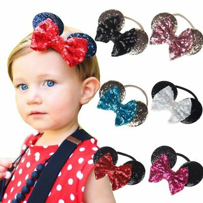 Kids Sequin MINNIE MICKEY MOUSE Headband Ears Bow Fancy Party Dress Up Accessory