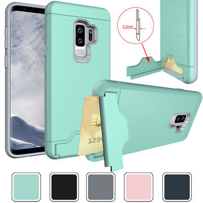 For Samsung Galaxy S8 S9+ S7 Edge J727 J327 Phone Case with Stand Card Holder