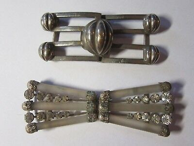 Two Antique BELT BUCKLE PAIRS Silver Plated - Glass - Diamante