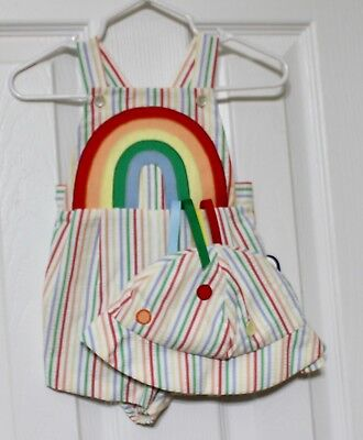 Nannette Vintage Striped Multi-color Rainbow Romper w/straps & Hat Unisex Sz 3Ms