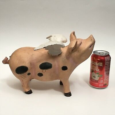 "Vintage Large Cast Iron Doorstop The Flying Pig When pigs Fly 12"" Long 10.5 lbs."
