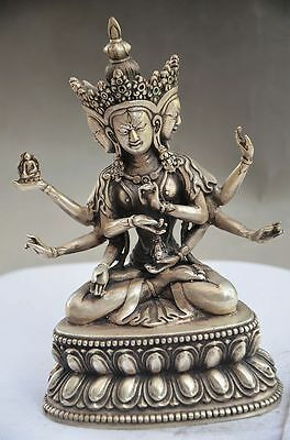 Collectible Chinese Miao Silver Handmade Tibetan Buddhism Statue