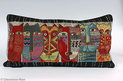 """Laurel Burch Lg Tapestry Cat Pillow 12""""x24"""" Colorful Kitty Faces Soft Back 6924"""