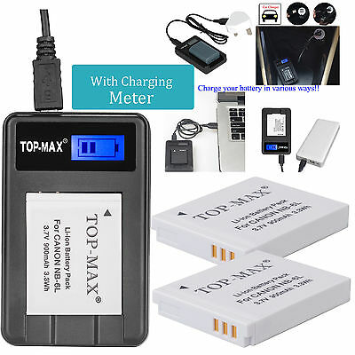 2x NB-6L NB-6LH Battery +USB  Charger for Canon PowerShot SX610  SX710  SX530