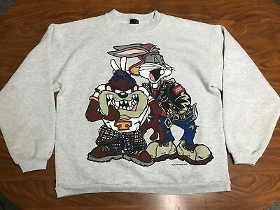 Mens Vintage 90's Bugs Bunny Taz Looney Tunes Bike Motorcycle Sweatshirt Small