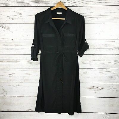A PEA IN THE POD Shirt Dress Maternity Black Cinch Empire Waist 3/4 SLV Spring