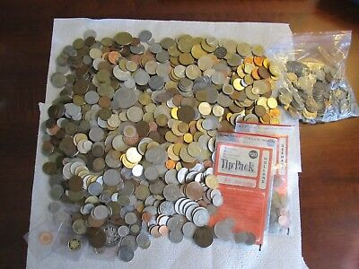 Large 14 LBS+ Lot of Mixed Foreign Coins
