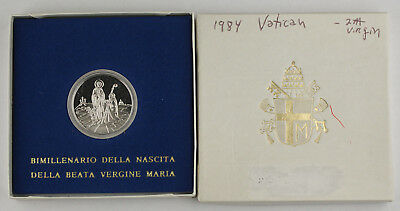 1984 Vatican 500 LIRE 0.8350 SILVER Proof Coin Birth Of The Virgin Mary +BOX COA