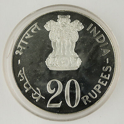 1973 INDIA 20 RUPEES 50% Silver Proof Coin KM# 240 FAO Food For All 30 Gram