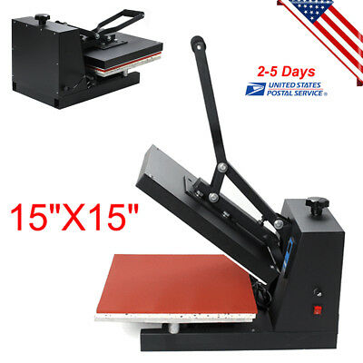 "15""X15"" Digital Clamshell Heat Press Transfer T-shirt Sublimation Machine 1600W"